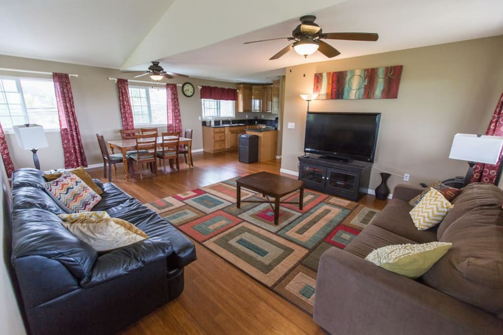 Lounge on the comfortable couches in the upstairs living room as you plan your next adventure.