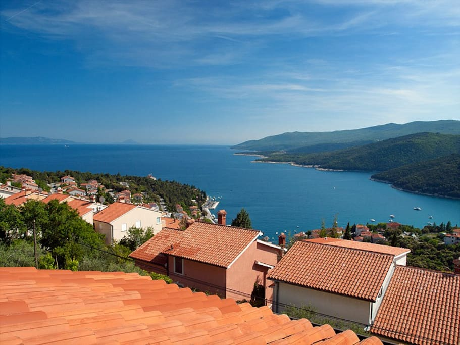 Panorama view on the sea and Rabac bay