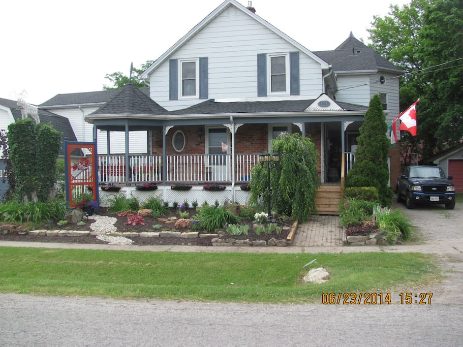 The front of the house, newly landscaped.