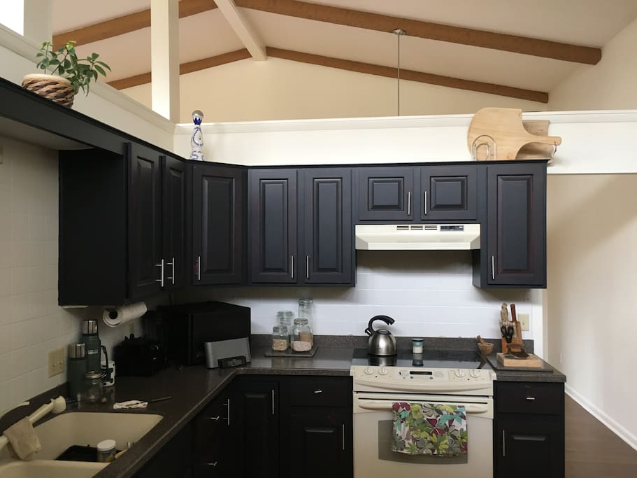 Spacious kitchen with electric appliances, garbage disposal, dishwasher and filtered water.