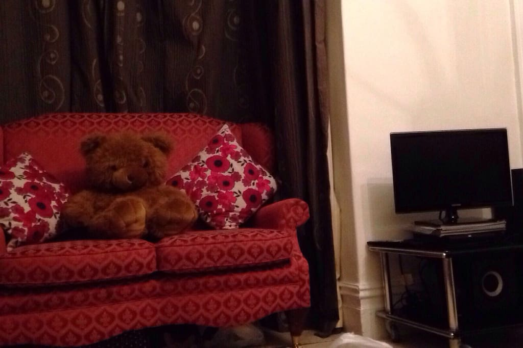 Second sofa, Bertie Bear, TV that's programmed to show Netflix