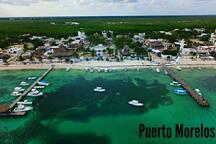 A drone shot of Puerto Morelos!