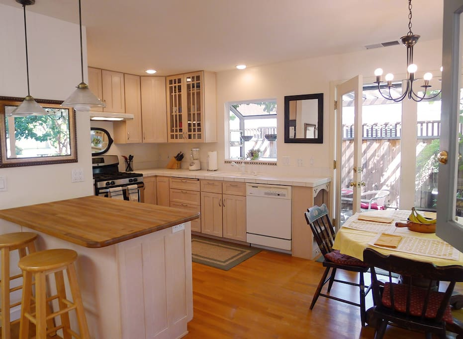 Kitchen and French Door to patio.
