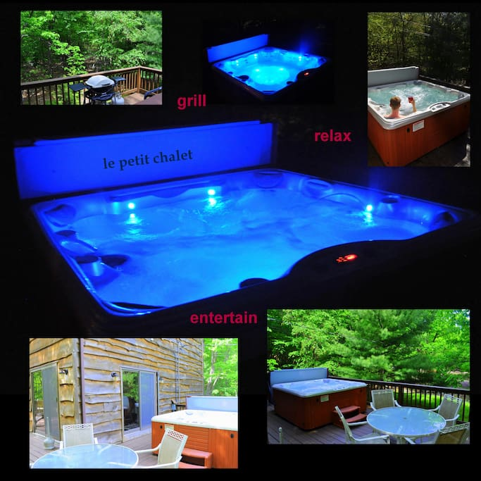 Jacuzzi with controlled LED light and jet settings