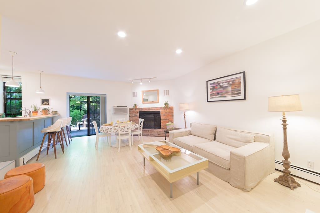 floor 1- lovely open layout with working fireplace and w/d in the unit