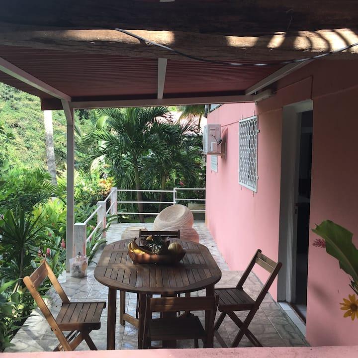 studio au calme dans jardin tropical