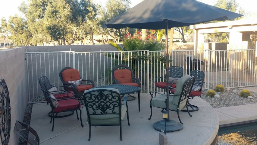 Patio seating with a firepit table great for cool winter evenings.