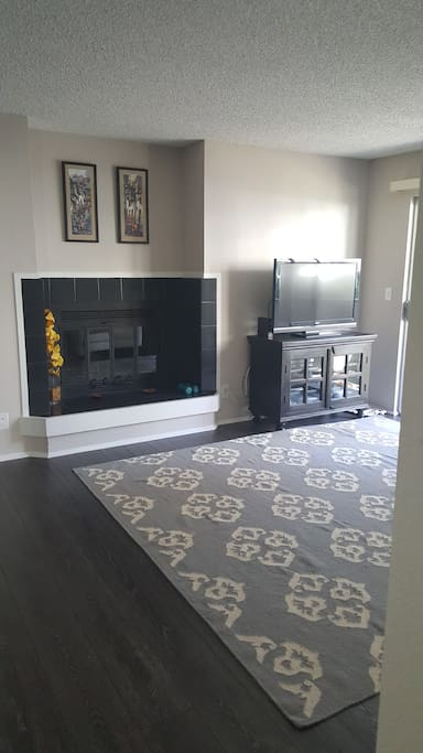 spacious living room, with working fire place