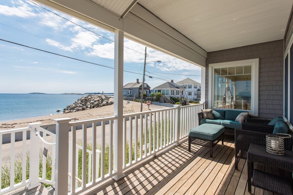 Downstairs porch with beach view and seating for 6