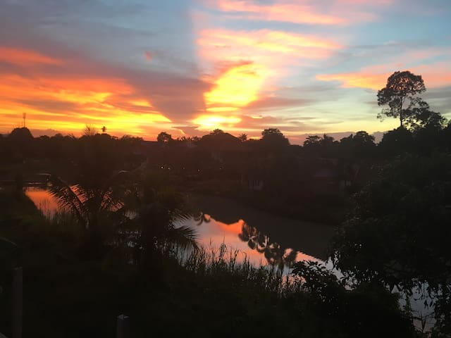 Sunset over the lake- view from the bedrooms.