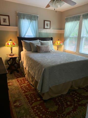 Tranquil master bedroom, queen bed