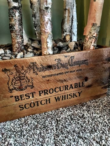 Birch tree planter made from antique Hudson Bay Company whiskey crate