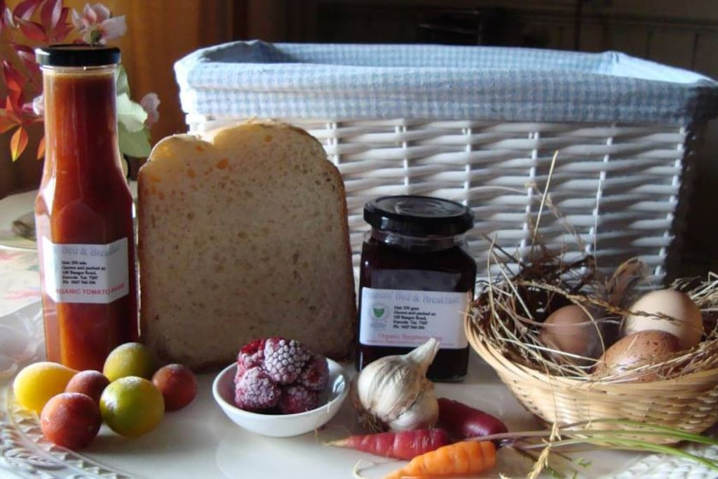 Your breakfast hamper includes home made jams and free range eggs.
