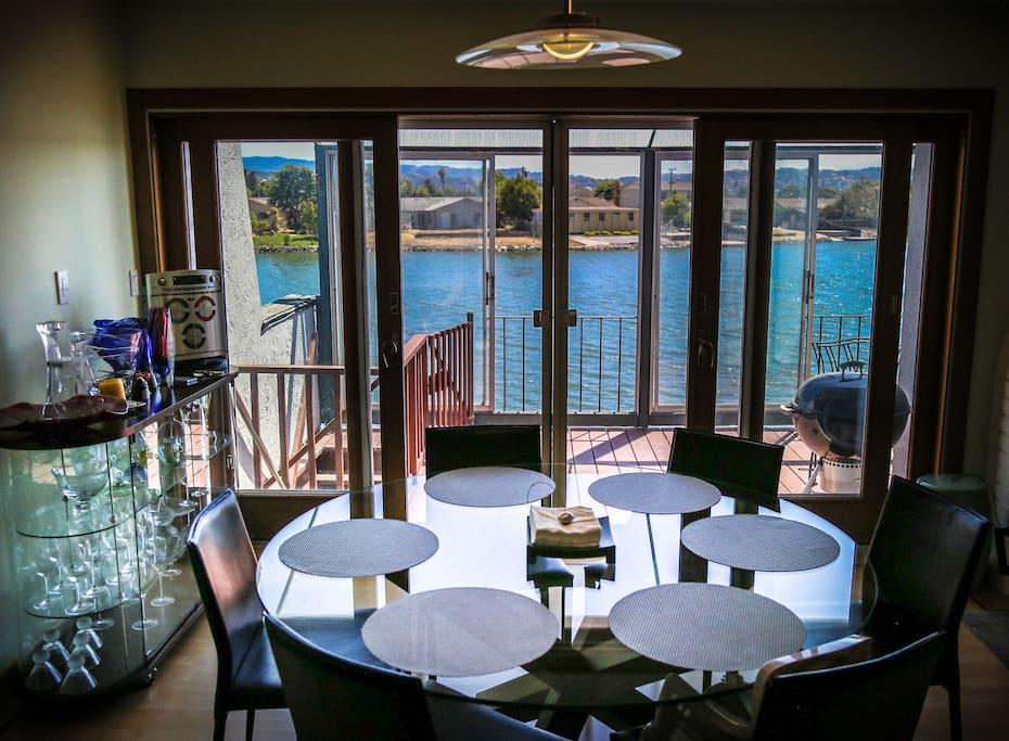 Dining room overlooking wide waters.