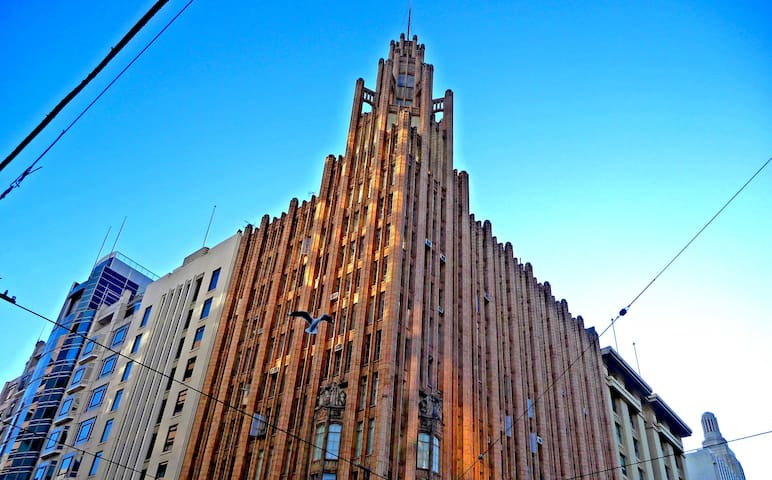 The Manchester Unity building - next door at the Corner of Swanston and Collins. A Neo-Gothic skyscraper built in 1932, it features lavish interior detailing. See my coffee and architecture blog - 'Letters at Cafe Noir' for more information.