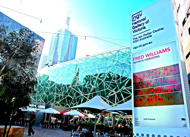 Federation Square Galleries - 6 minutes walk away.