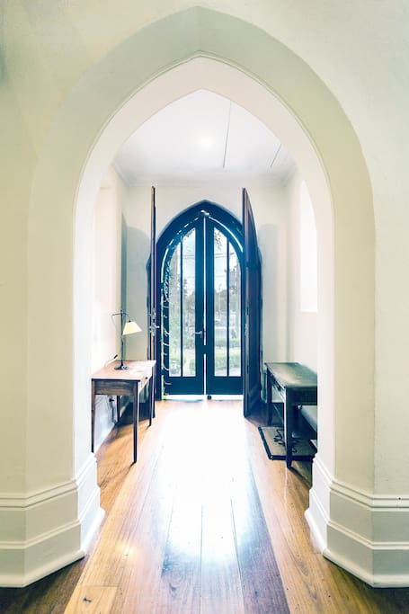 Foyer, looking out through Church doors