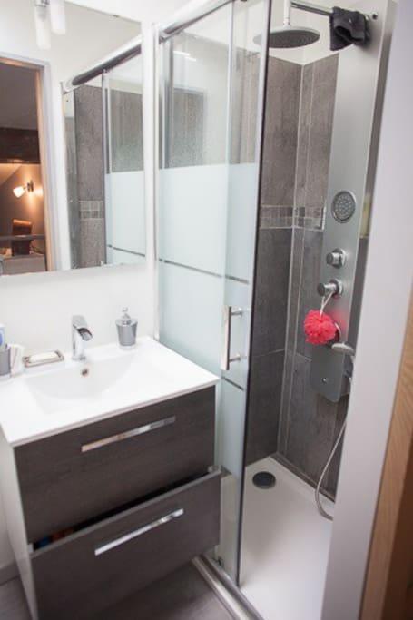 tres agréable salle de douche refaite à neuf