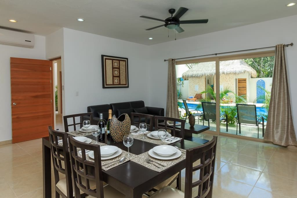 Spacious dining room with the terrace