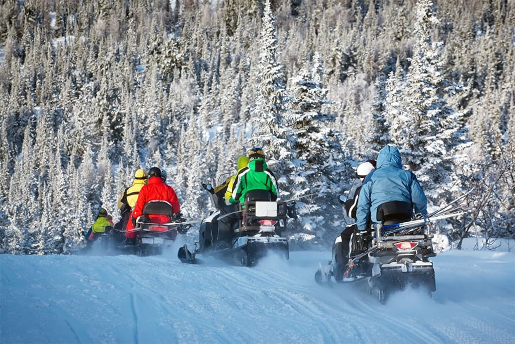 Gorgeous snowmobiling trails amidst the beautiful Northwoods forest