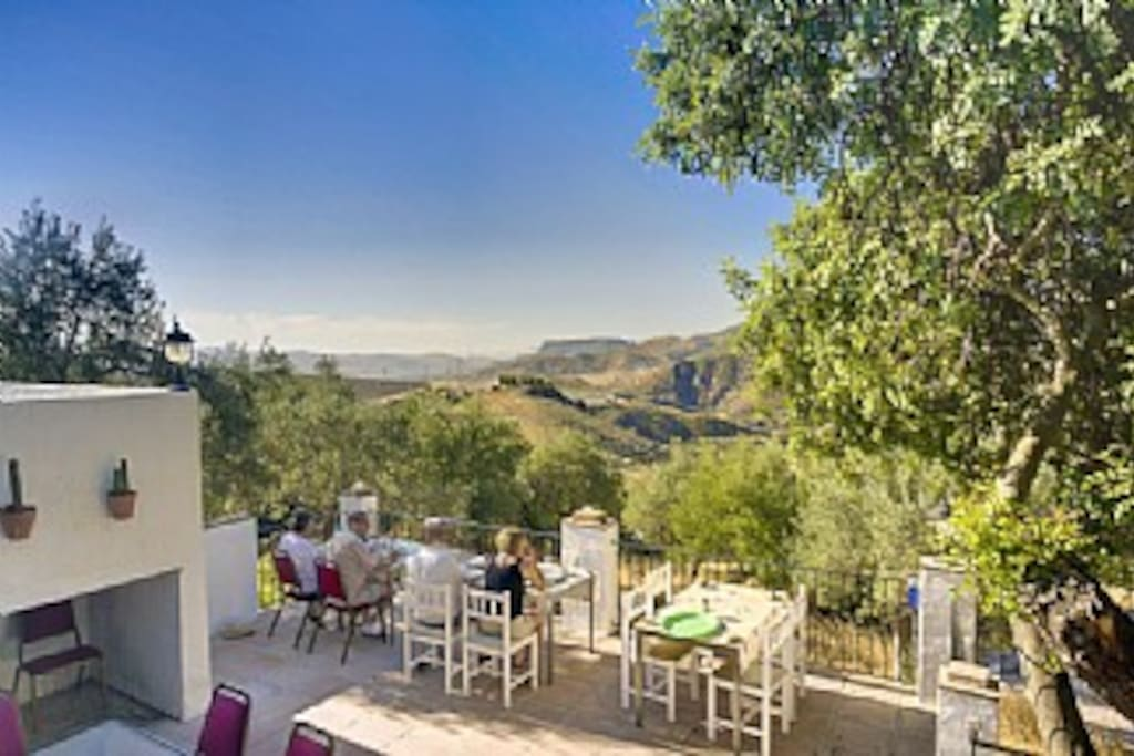 A scrumptious full breakfast on the Lower Terrace while taking in the views