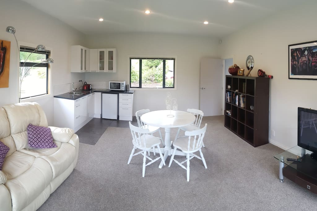 The spacious lounge, living and dining room.