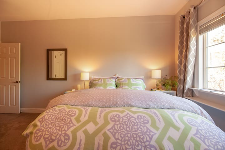 Your beautiful bedroom with a Queen size bed, TV,  Dresser, Closet, Desk, Coffee, Tea, Oatmeal.
