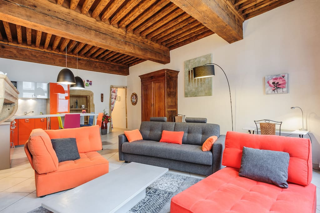 Charm old lyon near courthouse 1 apartments for rent in lyon rhone alpes france - Plafond a la francaise ...