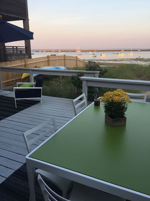 Very large private deck w dining seating for eight.  Very large outdoor living room and barbecue grille. All outdoor furniture is new.  Peaceful and beautiful setting.