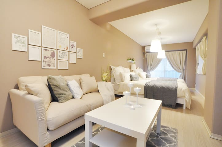 Cosy Cream Apartment // 3 mins from station! - Chūō-ku, Ōsaka-shi - Apartment