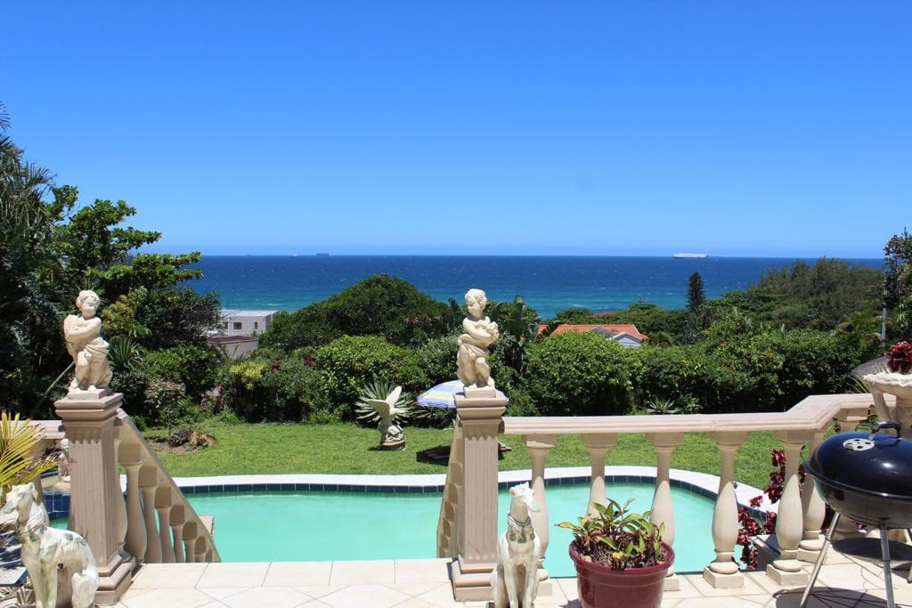 With a heavenly view of the Umhlanga ocean on the patio.
