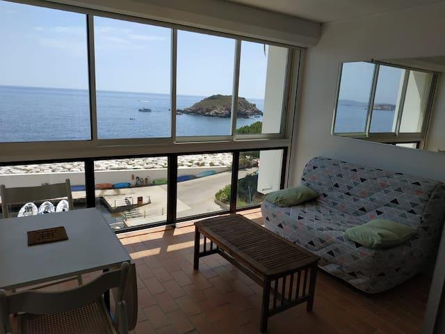 T1 vue mer panoramique avec plage privée, piscine