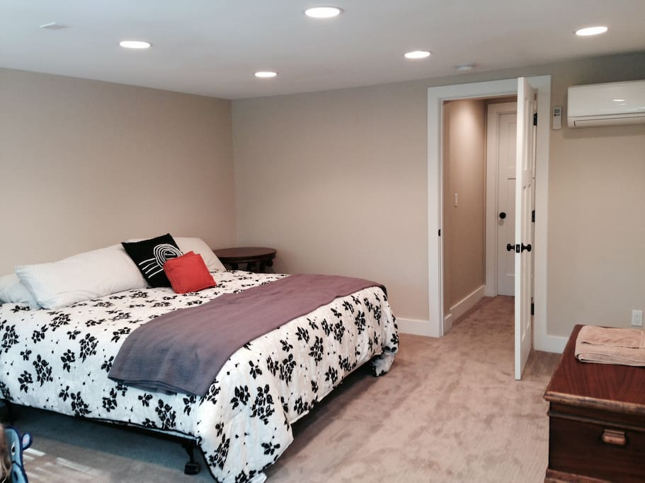 Basement bedroom with king size be also serves as a playroom