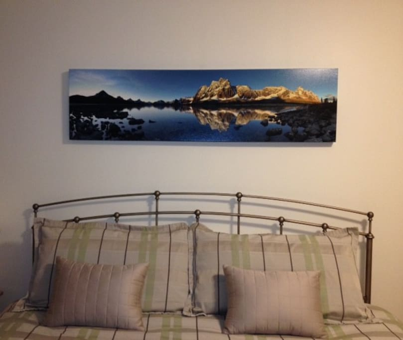 """Our suite has a king size bed - and you will love the panoramic photo of """"The Ramparts"""" in the Tonquin Valley!"""