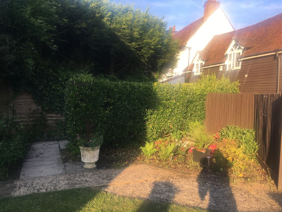 My front garden and entrance to Colne Cottage just past the brass Harry Potter Lamp, look out for the wooden mushrooms and sunflowers