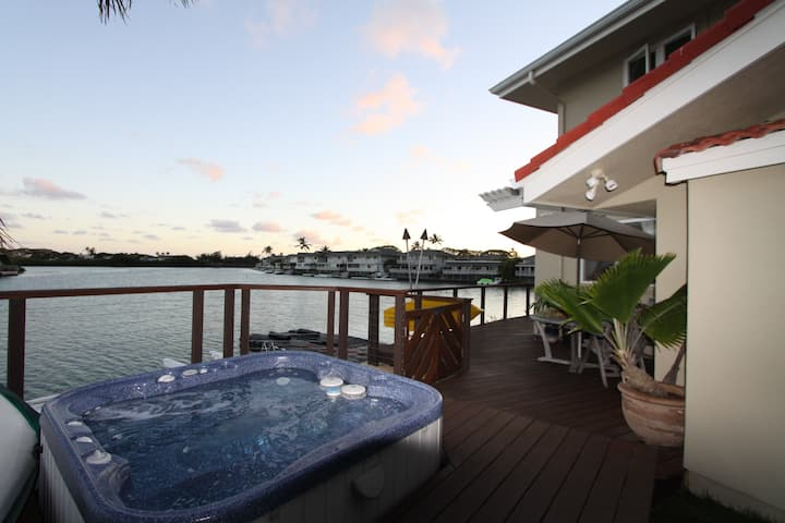Private Marina Bedroom, bath + deck with hot tub