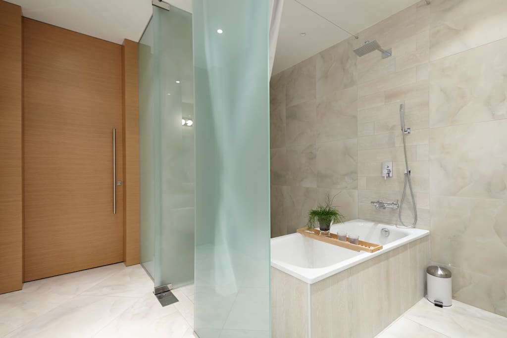 Fantastic luxury Bathroom with free-standing bathtub and shower