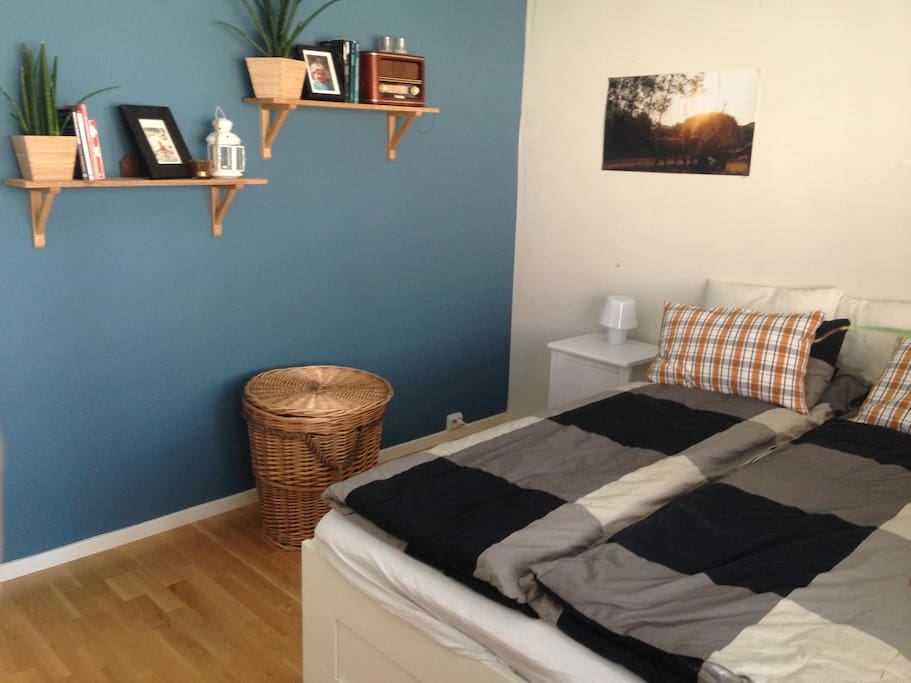 Bright, comfortable double bed with fresh linens & space