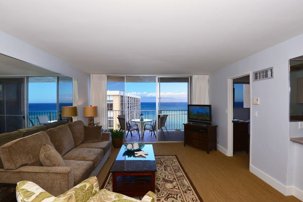 Spectacular ocean views from the living room and lanaia