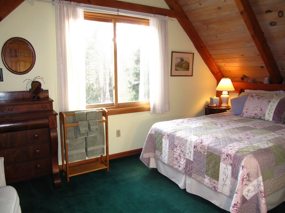 The Garden Room with queen bed and shared bath is the subject of this listing. Hearty breakfast included.