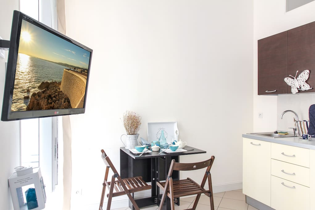 TV and dining table