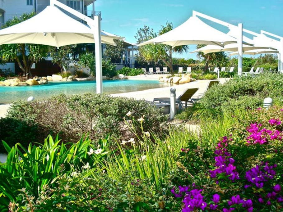 One of the swimming pools and the beautiful garden