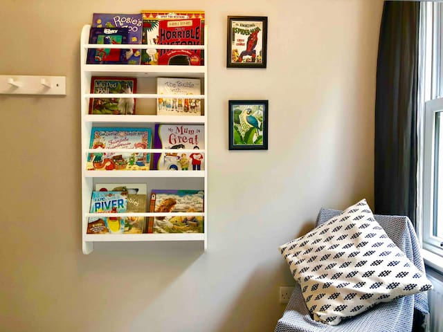 A great selection of books and toys for the kids