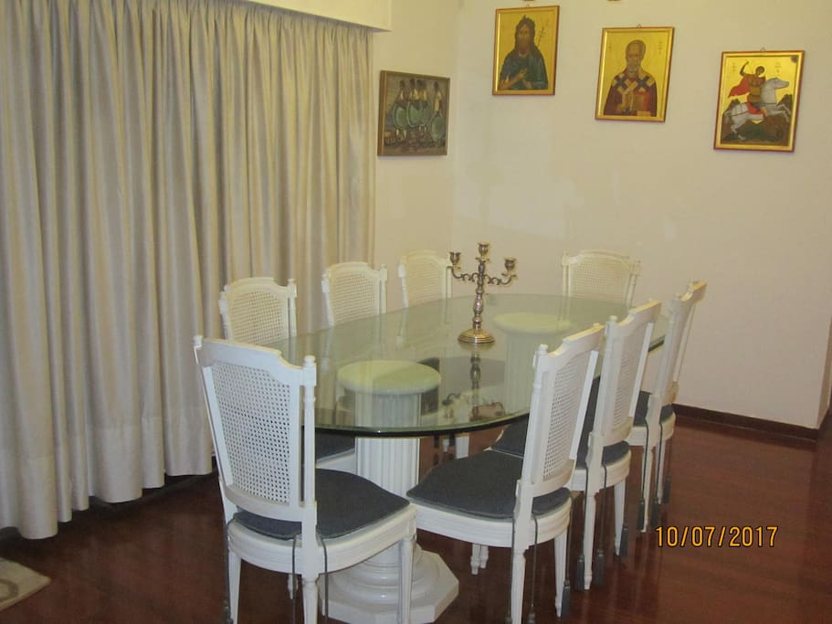 """Dining room table with 8 chairs, manufacturer """"Hamilos"""""""