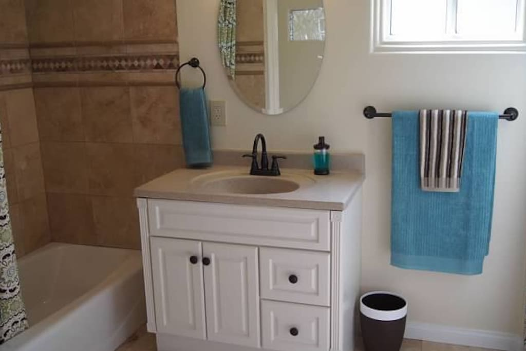 Vanity area in private bathroom.
