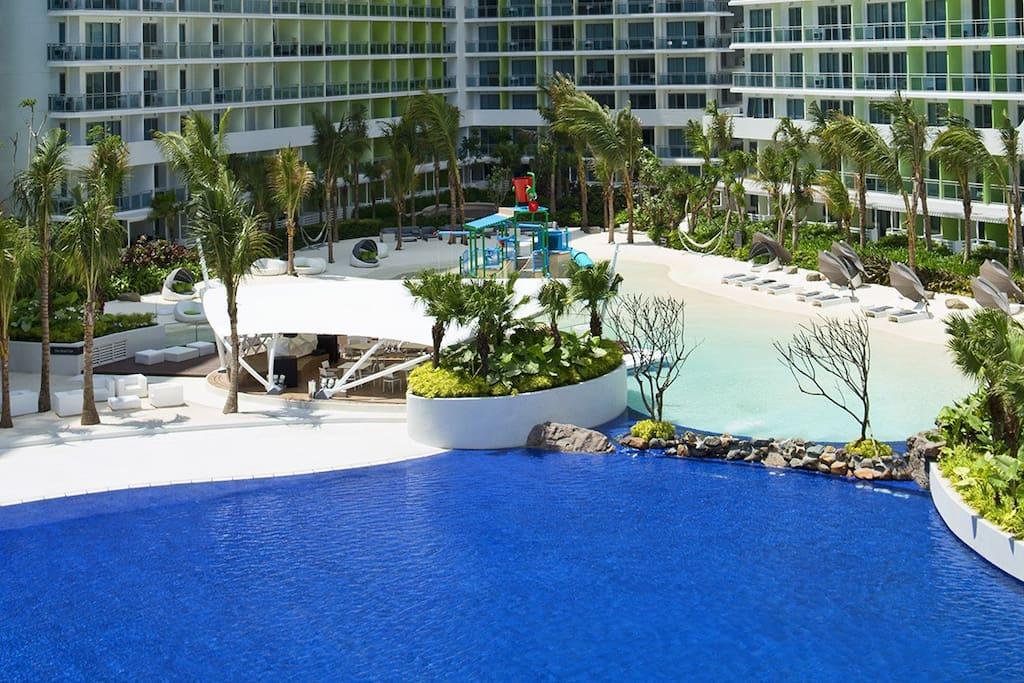 Azure beach and wave pool