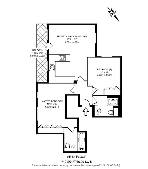 Floorplan for 2 bed 2 bath