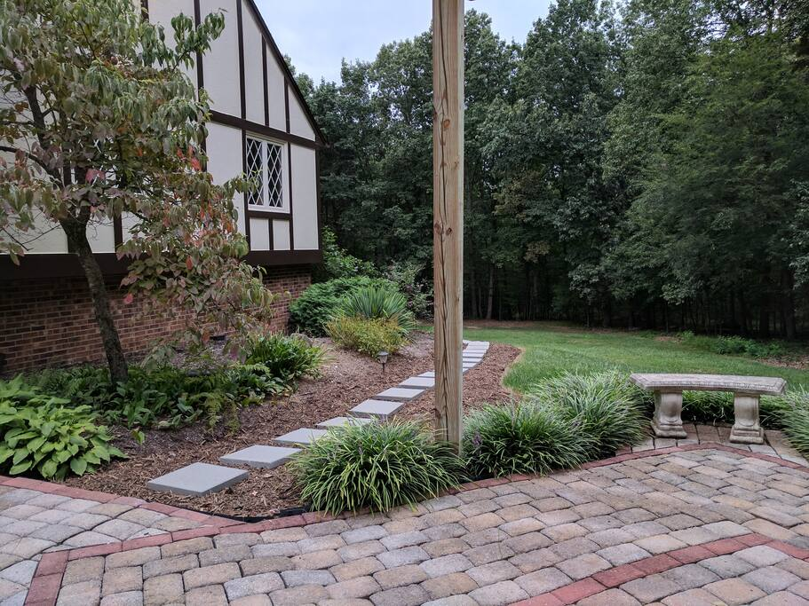 Courtyard & start of sidewalk to your private entrance