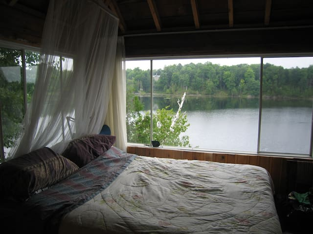 Loft bedroom with Queen bed and great views