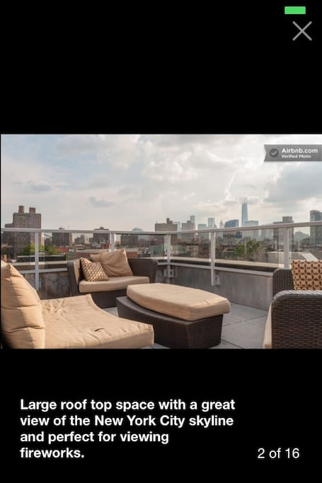 We have a great communal rooftop on the 9th floor. Great views and comfy couches.